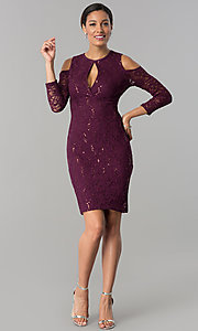 Image of cold-shoulder long-sleeve lace cocktail party dress.  Style: JU-MA-263593 Detail Image 1