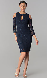 Image of cold-shoulder long-sleeve lace cocktail party dress.  Style: JU-MA-263593 Detail Image 3