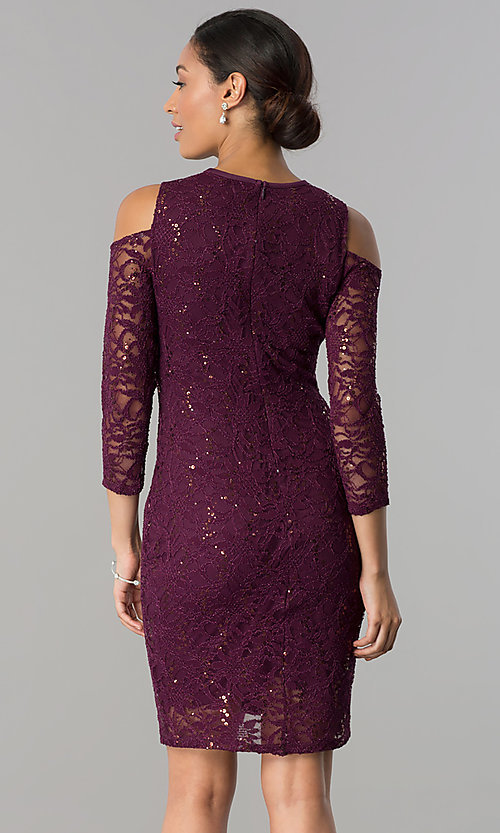 Image of cold-shoulder long-sleeve lace cocktail party dress.  Style: JU-MA-263593 Back Image