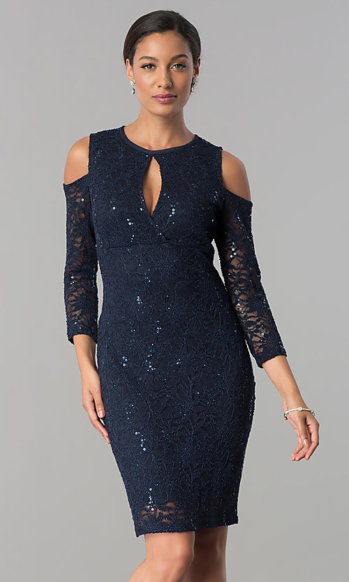 Image of cold-shoulder long-sleeve lace cocktail party dress.  Style: JU-MA-263593 Detail Image 2