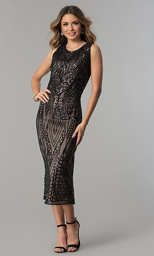 4645d45aa2b Image of black sequin tea-length wedding-guest party dress. Style  MO