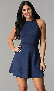 Image of glitter-jersey short navy wedding-guest party dress. Style: EM-FKY-2589-483 Front Image