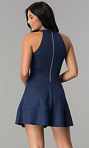 Image of glitter-jersey short navy wedding-guest party dress. Style: EM-FKY-2589-483 Back Image