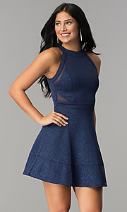 Image of glitter-jersey short navy wedding-guest party dress. Style: EM-FKY-2589-483 Detail Image 1
