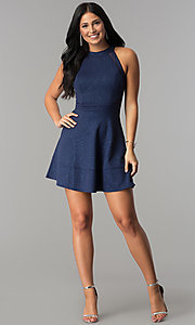 Image of glitter-jersey short navy wedding-guest party dress. Style: EM-FKY-2589-483 Detail Image 2