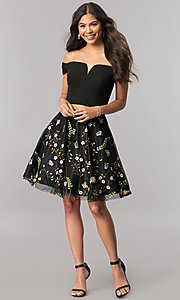 Image of two-piece homecoming short dress with embroidery. Style: FA-S8080 Detail Image 1