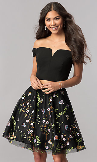 Two-Piece Homecoming Short Dress with Embroidery
