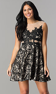 Image of illusion-lace short a-line homecoming dress. Style: LP-24132 Front Image