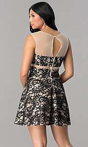 Image of illusion-lace short a-line homecoming dress. Style: LP-24132 Back Image