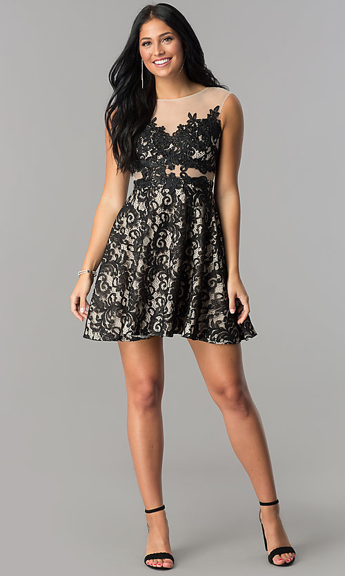 Image of illusion-lace short a-line homecoming dress. Style: LP-24132 Detail Image 1