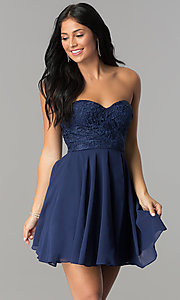 Image of short homecoming dress with lace strapless bodice. Style: LP-24349 Back Image