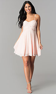 Image of short homecoming dress with lace strapless bodice. Style: LP-24349 Detail Image 1