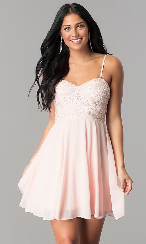 Image of short homecoming dress with lace strapless bodice. Style: LP-24349 Front Image