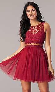 Image of lace-bodice mock-two-piece short homecoming dress. Style: LP-23846 Detail Image 1