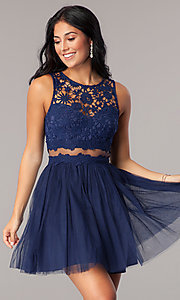 Image of lace-bodice mock-two-piece short homecoming dress. Style: LP-23846 Front Image