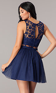 Image of lace-bodice mock-two-piece short homecoming dress. Style: LP-23846 Back Image