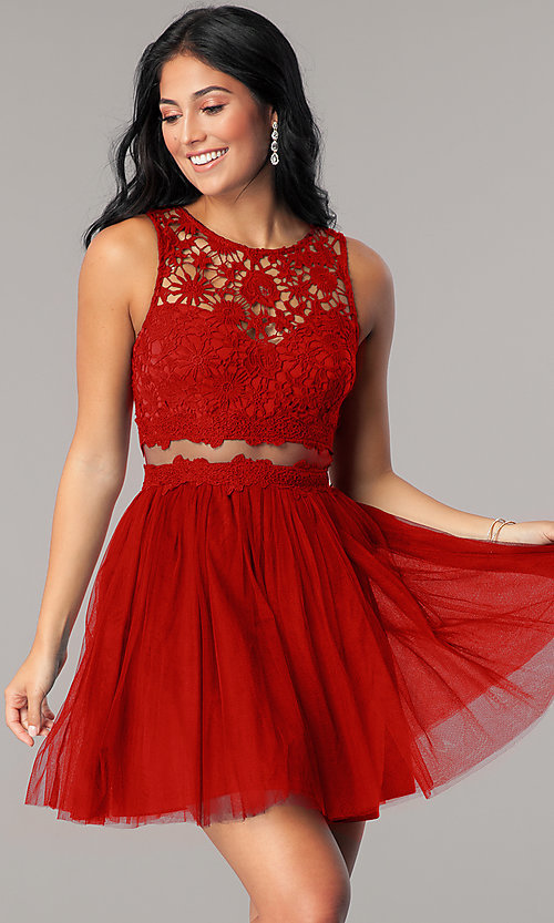 Image of lace-bodice mock-two-piece short homecoming dress. Style: LP-23846 Detail Image 3