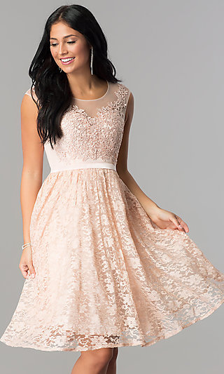 Short Lace Homecoming Dress with Illusion Neckline
