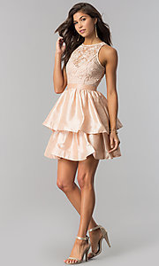 Image of short tiered homecoming dress in taffeta and lace. Style: LP-24505 Detail Image 2