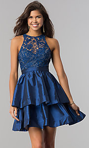 Image of short tiered homecoming dress in taffeta and lace. Style: LP-24505 Detail Image 3
