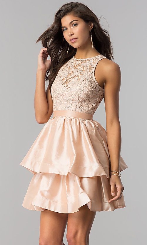 Image of short tiered homecoming dress in taffeta and lace. Style: LP-24505 Detail Image 1