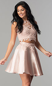 Image of satin and lace two-piece short homecoming dress. Style: LP-90062 Detail Image 1