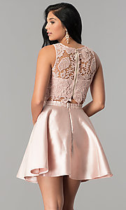 Image of satin and lace two-piece short homecoming dress. Style: LP-90062 Back Image