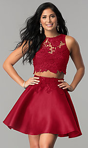 Image of satin and lace two-piece short homecoming dress. Style: LP-90062 Detail Image 3