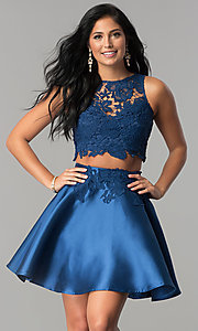 Image of satin and lace two-piece short homecoming dress. Style: LP-90062 Front Image