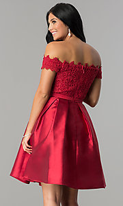 Image of short off-the-shoulder lace-bodice homecoming dress. Style: LP-24108 Back Image