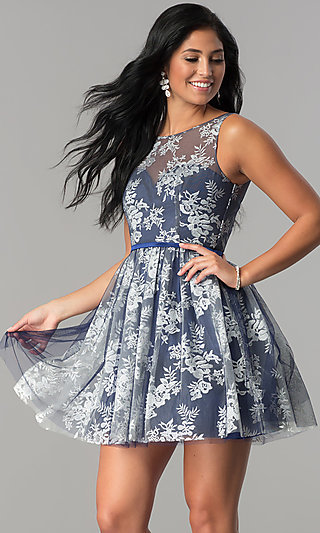 Short A-Line Homecoming Dress with Floral Embroidery