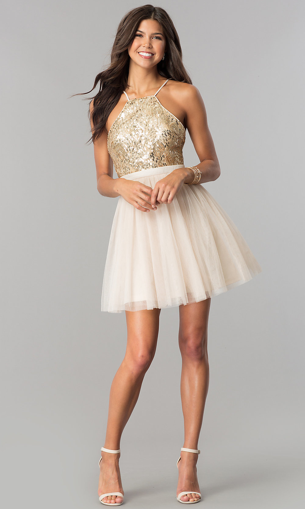 16fd9a7fd62cb Sequin-Bodice Short Tulle A-Line Homecoming Dress