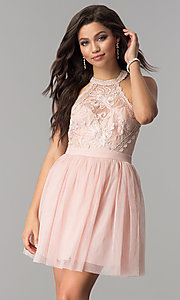 Image of short homecoming dress with high-neck illusion bodice. Style: LP-24066 Detail Image 1