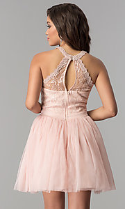 Image of short homecoming dress with high-neck illusion bodice. Style: LP-24066 Back Image