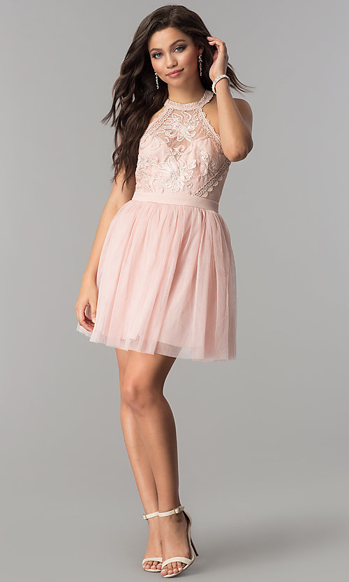 Image of short homecoming dress with high-neck illusion bodice. Style: LP-24066 Detail Image 2