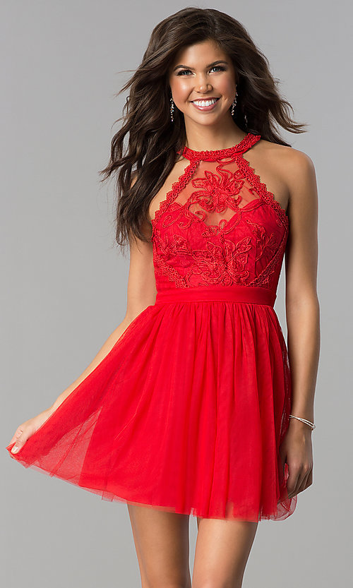 Image of short homecoming dress with high-neck illusion bodice. Style: LP-24066 Detail Image 3