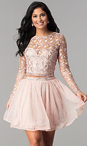 Image of embroidered long-sleeve two-piece homecoming dress. Style: LP-97036 Front Image