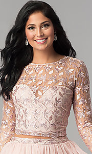 Image of embroidered long-sleeve two-piece homecoming dress. Style: LP-97036 Detail Image 1