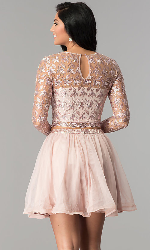 Image of embroidered long-sleeve two-piece homecoming dress. Style: LP-97036 Back Image