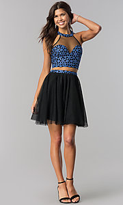 Image of short two-piece homecoming dress with glitter print. Style: LP-97031 Detail Image 1