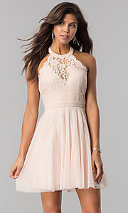 Image of lace-bodice homecoming short halter party dress. Style: LP-27125 Detail Image 2