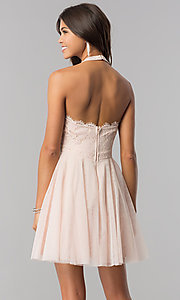 Image of lace-bodice homecoming short halter party dress. Style: LP-27125 Detail Image 3