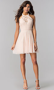 Image of lace-bodice homecoming short halter party dress. Style: LP-27125 Detail Image 4