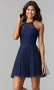 Image of lace-bodice homecoming short halter party dress. Style: LP-27125 Front Image