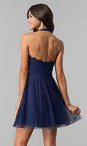 Image of lace-bodice homecoming short halter party dress. Style: LP-27125 Back Image