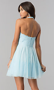 Image of lace-bodice homecoming short halter party dress. Style: LP-27125 Detail Image 6