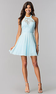 Image of lace-bodice homecoming short halter party dress. Style: LP-27125 Detail Image 7