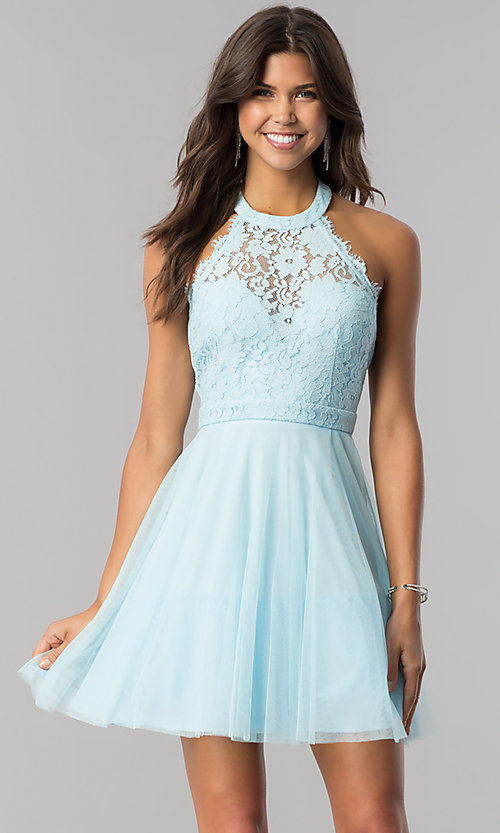 Image of lace-bodice homecoming short halter party dress. Style: LP-27125 Detail Image 5