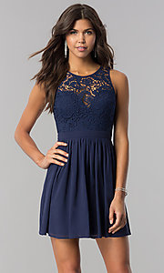 Image of short homecoming dress with embroidered-lace bodice. Style: LP-27242 Detail Image 1