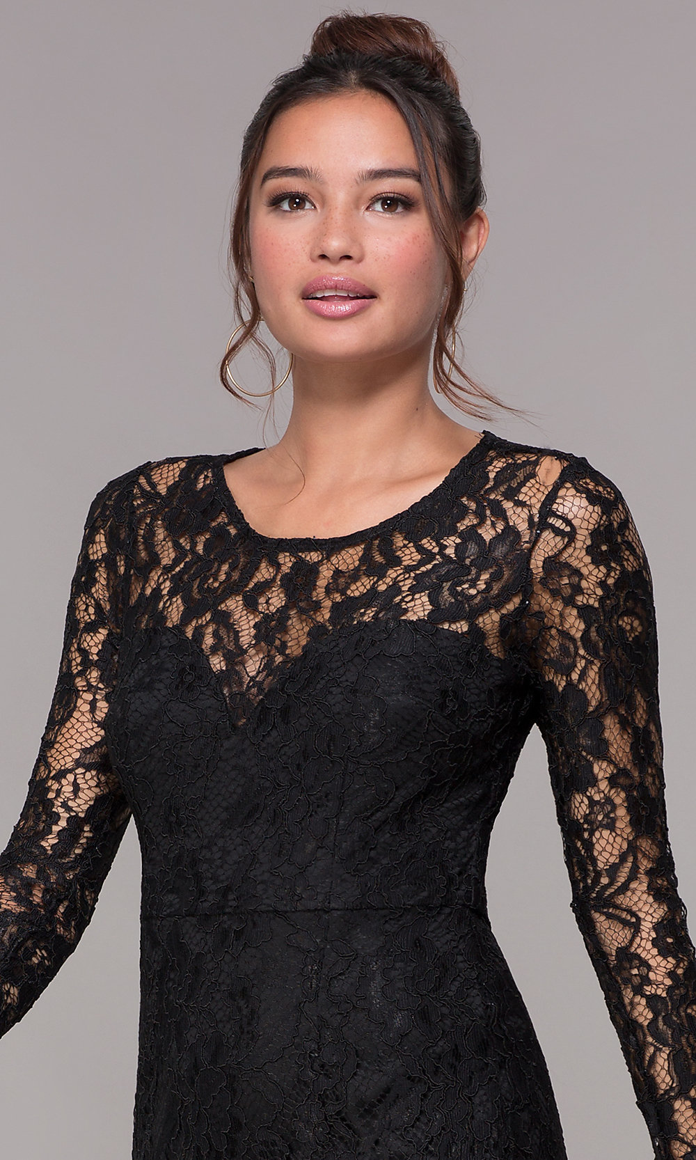 08fcda0b ... lace homecoming party dress with long sleeves. Style: LP-23197. Tap to  expand